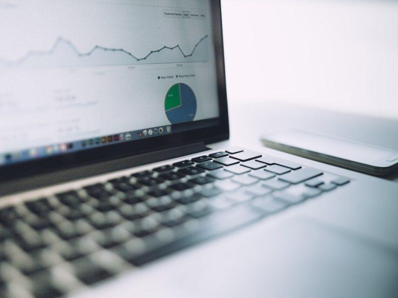 computer screen showing web analytics graphs